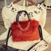 Plain Chain Rectangle Fluffy Tote Bags