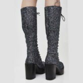 Customized Chunky Heel Lace-Up Front Round Toe Mid Calf Boots