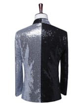 Button Color Block Polyester Men's Stage Costumes Blazers