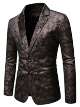 Patchwork Notched Lapel Single-Breasted Plain Men's Leisure Blazers