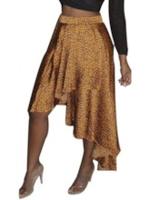 Print Mid-Calf Asymmetrical Women's Skirt