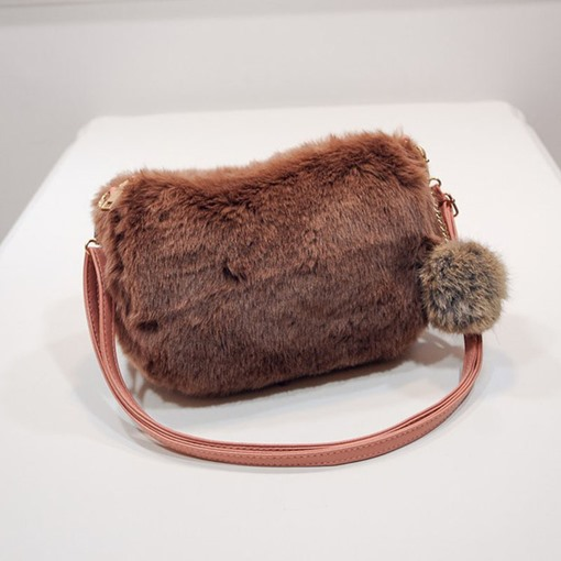 Fluffy Rectangle Winter Crossbody Bags