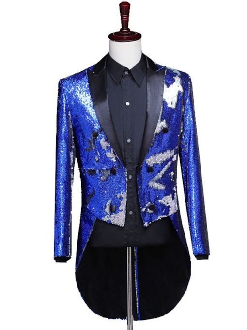 Color Block Button Fashion Men's Stage Costumes Blazers