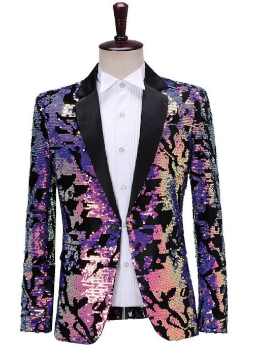 Sequins Color Block Fashion Men's Stage Costumes Blazers