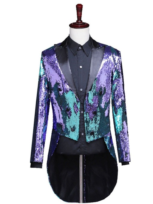 Sequins Color Block Fashion Stage Costumes Men's Blazers