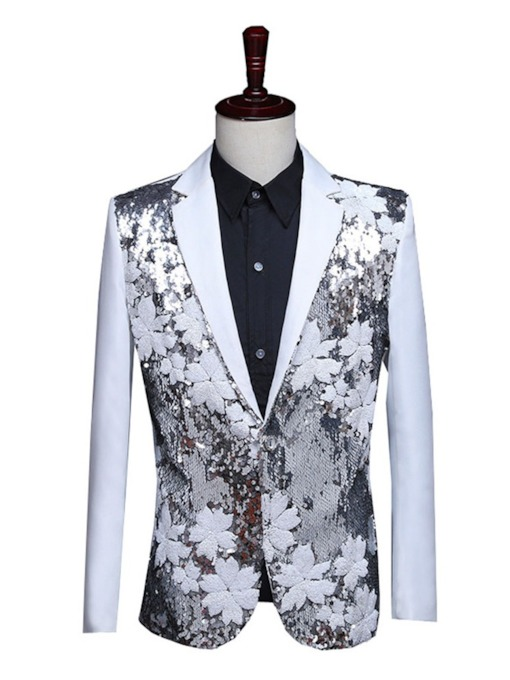 Color Block Sequins Fashion Men's Stage Costumes Blazers