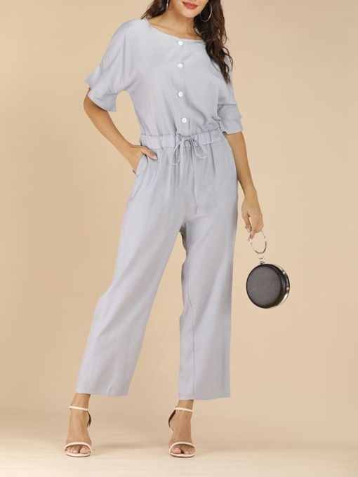 Casual Plain Ankle Length Slim Lace-Up Women's Jumpsuit
