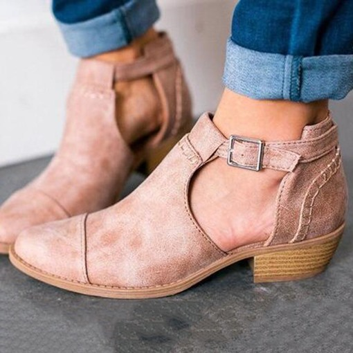Pointed Toe Chunky Heel Hasp Vintage Ankle Boots