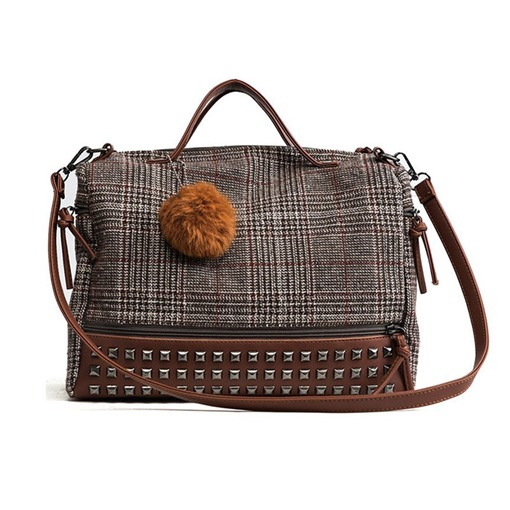 Wool Blends Rivet Plaid Rectangle Tote Bags