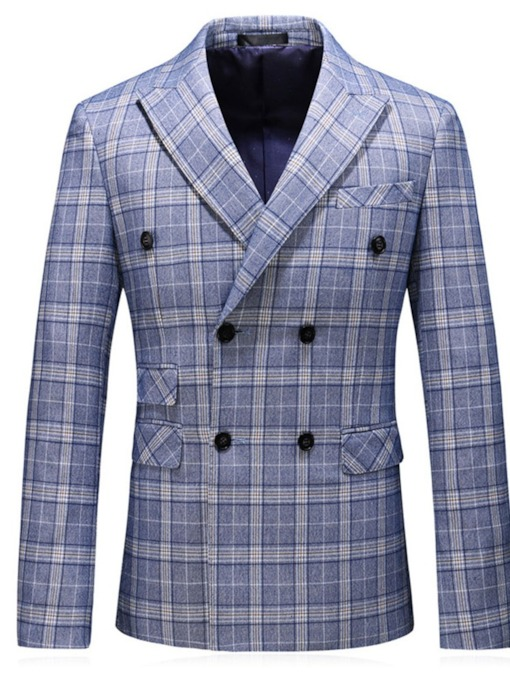 Plaid Notched Lapel Fashion Button Men's Leisure Blazers