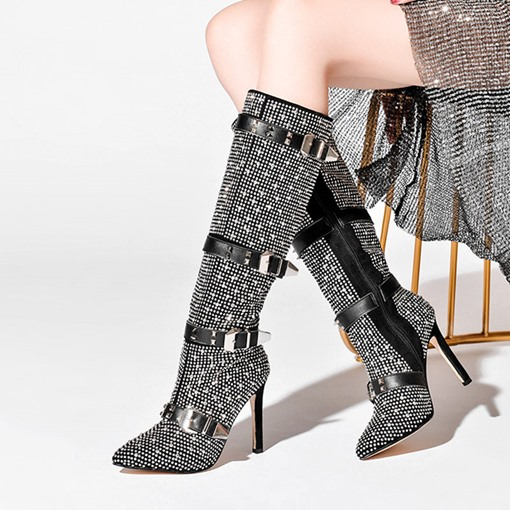 Customized Side Zipper Pointed Toe Stiletto Heel Knee High Boots
