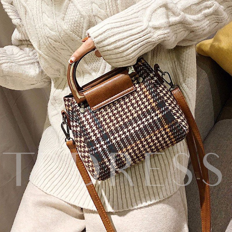 Print PU Houndstooth Rectangle Tote Bags