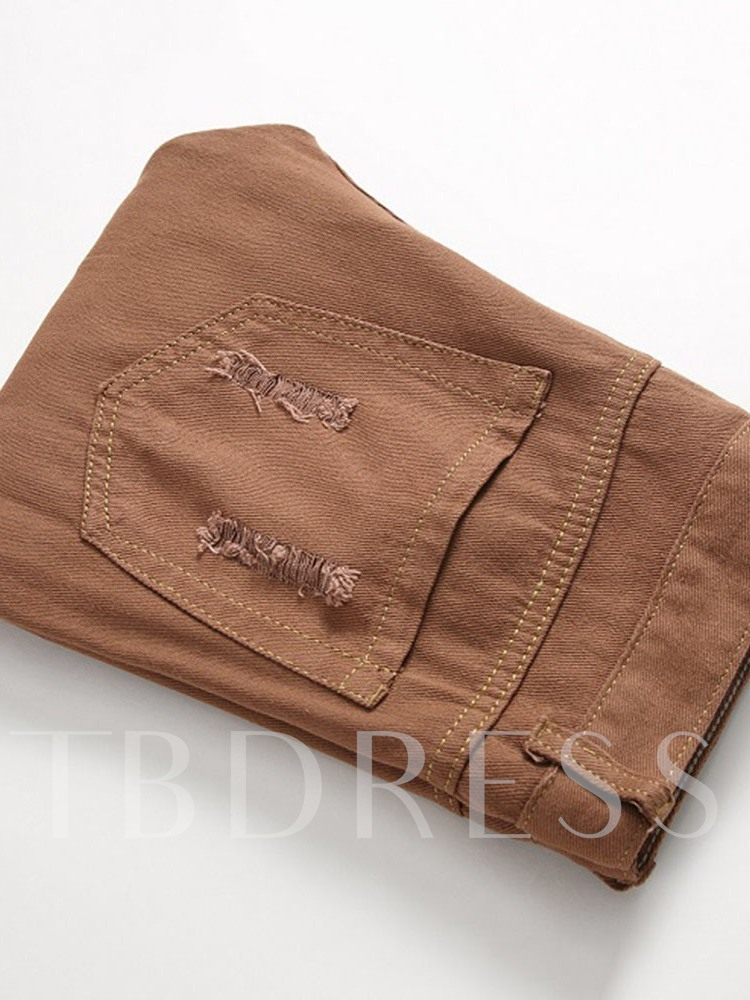 Color Block Embroidery Straight European Men's Jeans