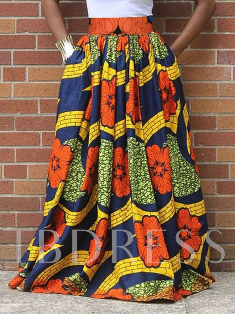Fashion Ankle-Length Pleated Print Floral Women's Skirt
