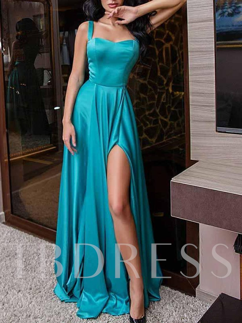 A-Line Sleeveless Straps Split-Front Evening Dress 2019