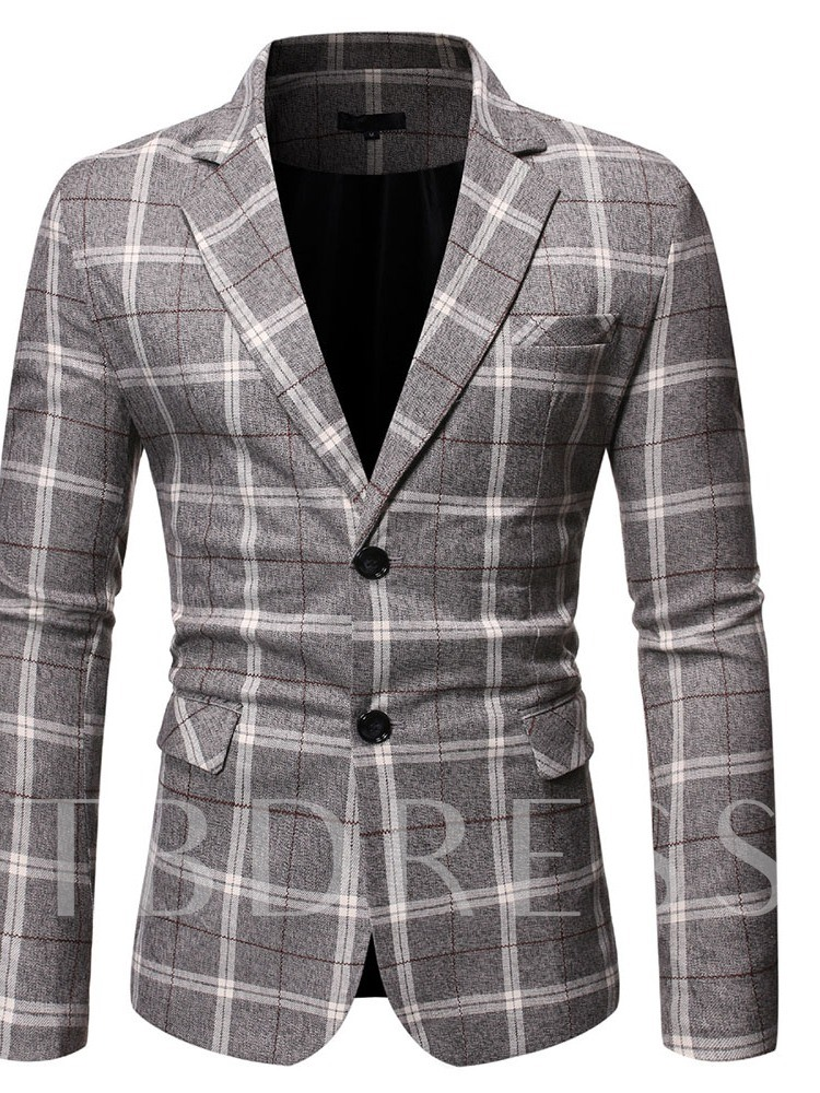 Slim Single-Breasted Plaid Notched Lapel Men's Leisure Blazers