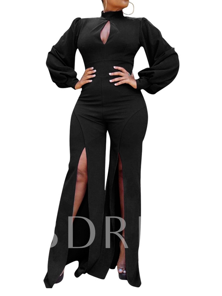 Full Length Plain Fashion Slim Long Sleeve Women's Jumpsuit