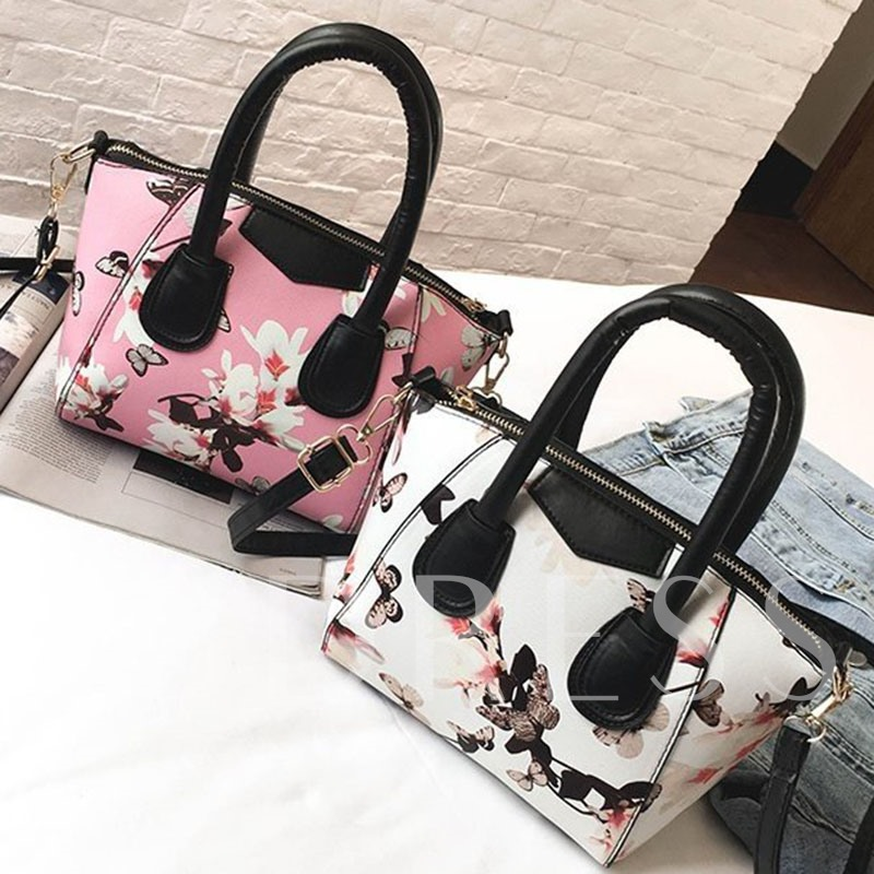PU Thread Floral Rectangle Vintage Tote Bags