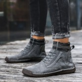 Patchwork Lace-Up Front Round Toe Suede Men's Ankle Boots