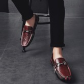 Plaid Low-Cut Upper Slip-On Round Toe Men's Loafers