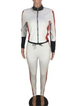 Casual Color Block Stand Collar Women's Two Piece Sets
