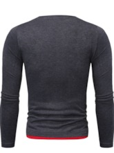 Casual Round Neck Color Block Long Sleeve Men's Shirt