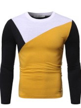 Round Neck Korean Color Block Men's Shirt