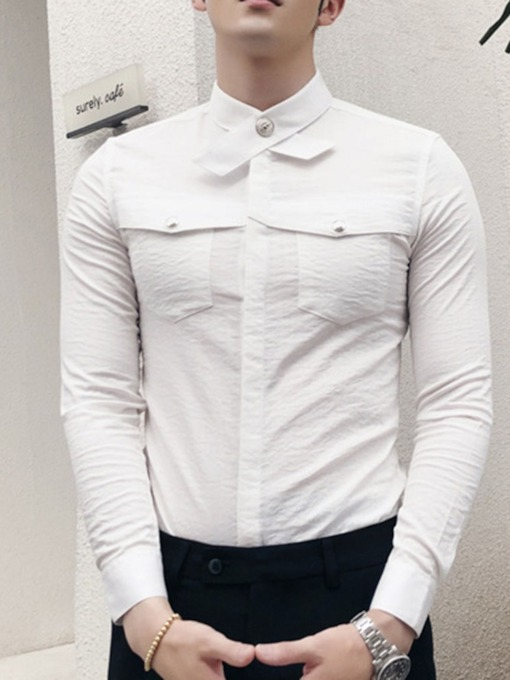 Plain Button Korean Spring Men's Shirt