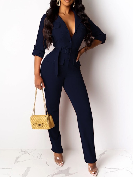Full Length Lace-Up Straight Women's Jumpsuit