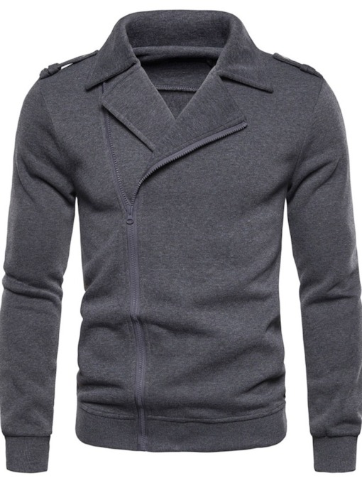 Cardigan Plain Zipper Men's Coats