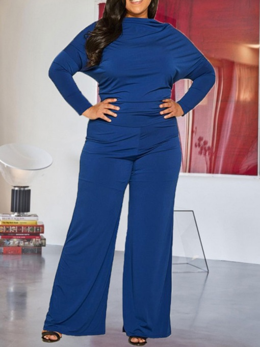 Plus Size Full Length Plain High Waist Women's Jumpsuit