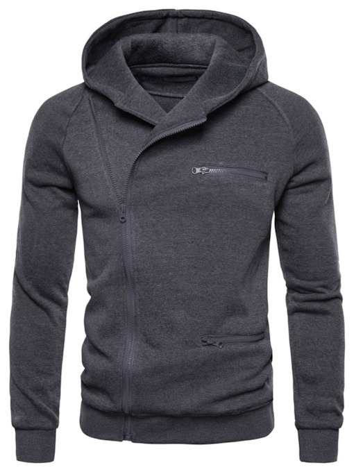 Cardigan Plain Zipper Men's Hoodies Coats
