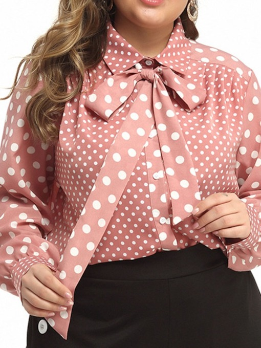 Plus Size Polka Dots Lapel Long Sleeve Women's Blouse