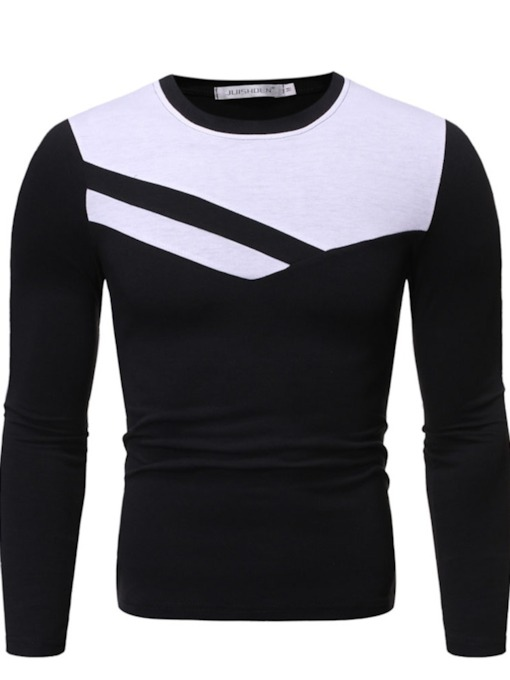 Round Neck Color Block Casual Long Sleeve Men's Shirt