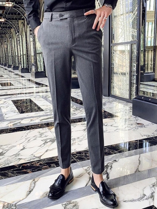 Ankle Length Straight Casual Button Men's Suit Trousers