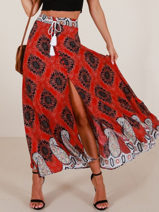 Print Asymmetrical Ankle-Length Floral Casual Women's Skirt