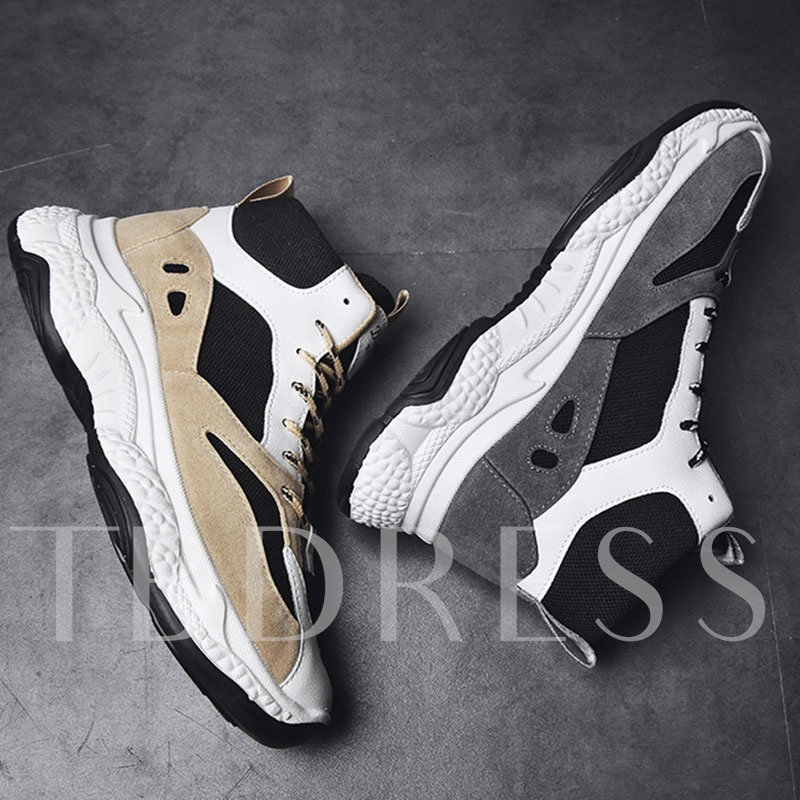 Sports Mid Calf Lace-Up Mesh Men's Sneakers