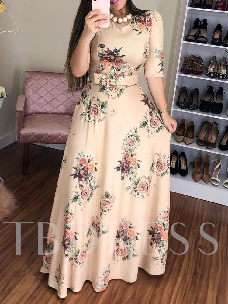 Floor-Length Half Sleeve Round Neck Print Pullover Women's Maxi Dress
