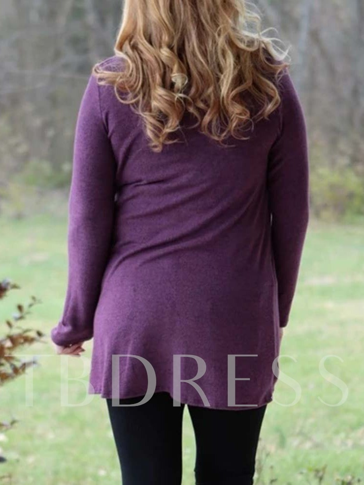 Plus Size Asymmetric Round Neck Women's Sweater