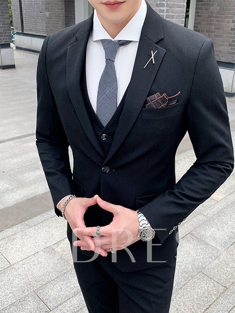Pants Korean Button Plain Men's Dress Suit