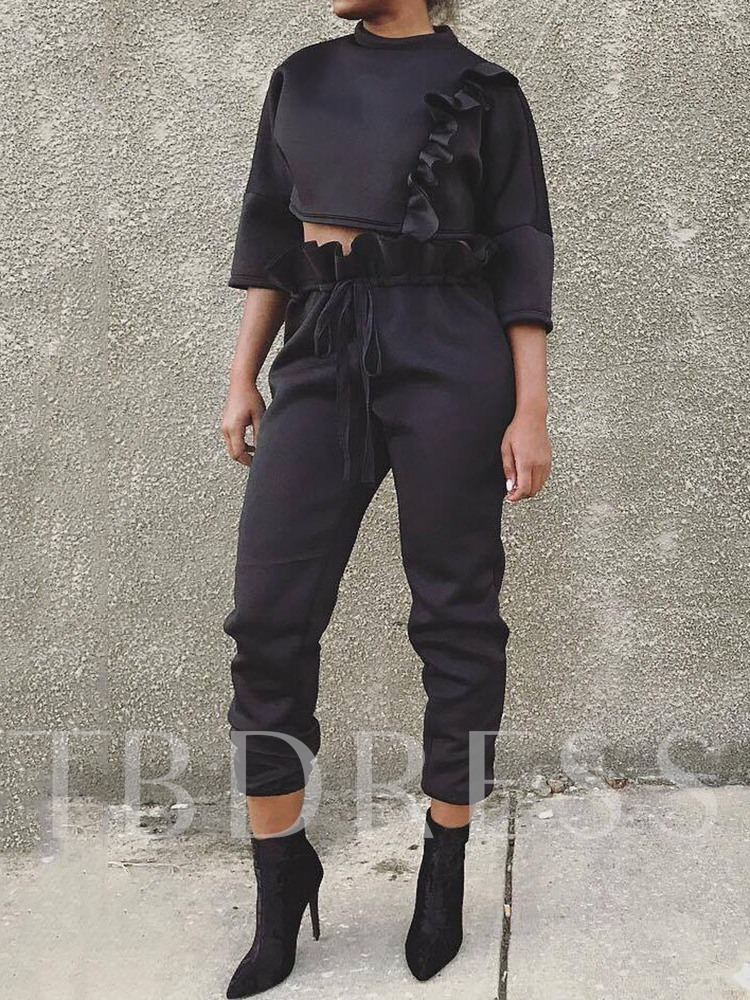 Ankle Length Pants Casual Plain Straight Women's Two Piece Sets