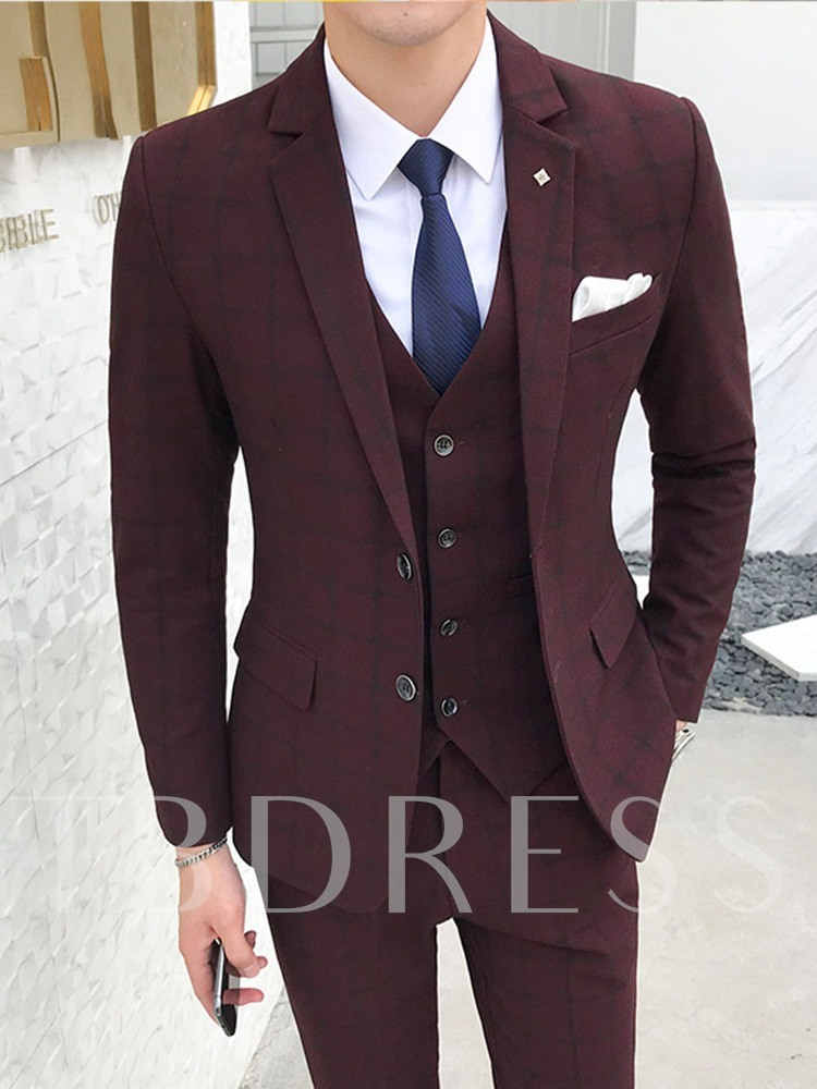 Korean Single-Breasted Plaid Blazer Men's Dress Suit