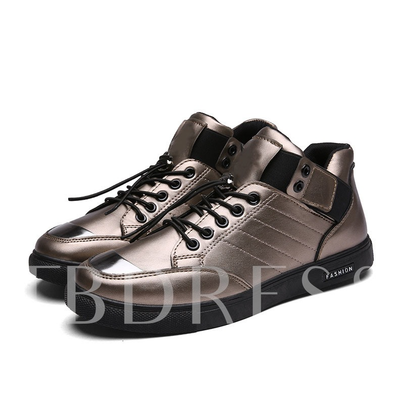 Lace-Up Flat With Color Block Round Toe Men's Skate Shoes
