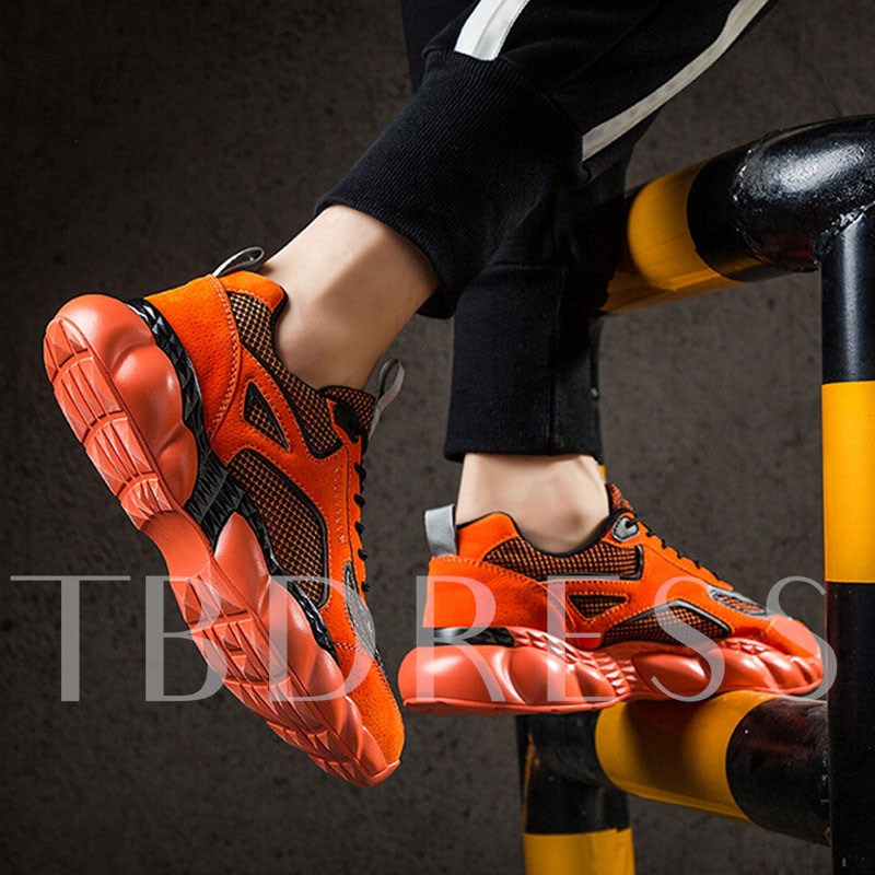 Low-Cut Upper Lace-Up Round Toe Patchwork Men's Sneakers