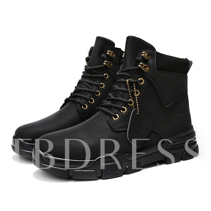 Patchwork Round Toe Lace-Up Front Men's Ankle Boots