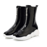 Plain Round Toe Front Zipper Casual Ankle Boots