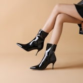 Pointed Toe Stiletto Heel Sexy Side Zipper Ankle Boots
