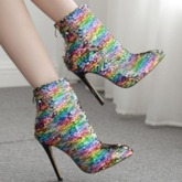Sequin Color Block Stiletto Heel Pointed Toe Back Zip Ankle Boots
