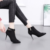 Pointed Toe Plain Stiletto Heel Front Zipper Western Ankle Boots