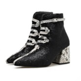 Patchwork Chunky Heel Hasp Pointed Toe Ankle Boot